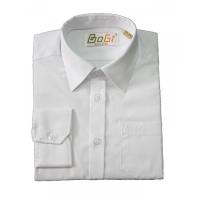 Рубашка классическая, длинный рукав, белая, 80% хлопок