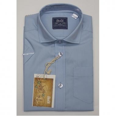 Рубашка классическая, корткий рукав, голубая, 80% хлопок