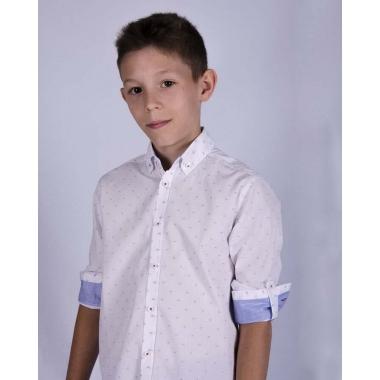 Рубашка для мальчика,белая с голубыми квадратиками - 100% хлопок