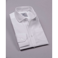 Рубашка классическая, длинный рукав, белая, 100% хлопок