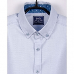 Рубашка для мальчика, длинный рукав,  голубая, 100% хлопок