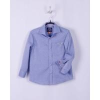 Рубашка для мальчика, голубая в точечку, 60% хлопок
