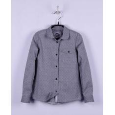 Блуза для девочки, серая в точечку, 100 хлопок