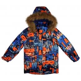 Куртка для мальчика ЗИМА-БУКВЫ  Опушка и капюшон отстегиваются