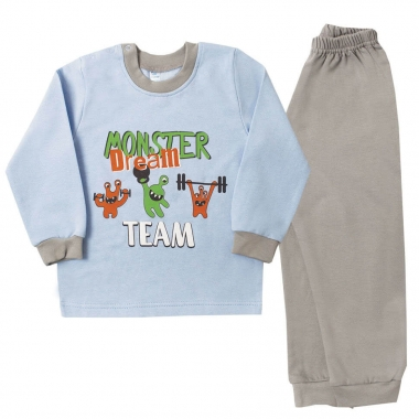 Пижама МОНСТРИКИ, байка - 100% хлопок