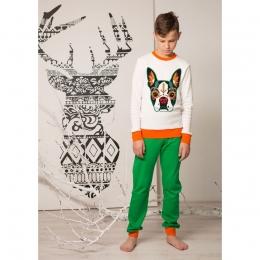 Пижама Овен Франц Белый с зеленым