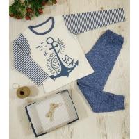 Пижама ЯКОРЬ, однотонные штанишки, интерлок - 100% хлопок