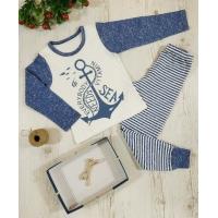 Пижама ЯКОРЬ, полосатые штанишки, интерлок - 100% хлопок