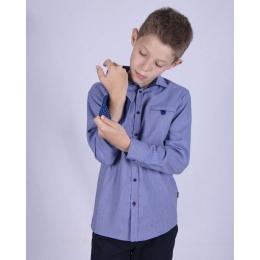 Рубашка с длинным рукавом, серо-голубой джинс,100% хлопок