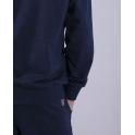 Худи на змейке (152-170), темно-синий меланж, двухнитка - 60% хлопок