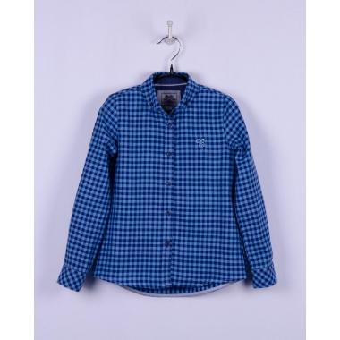 Блуза, длинный рукав, сине-голубая клетка