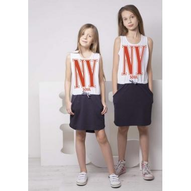Платье Овен Нью-Йорк Бело-синее