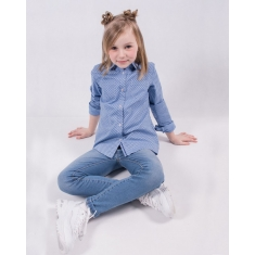 Блуза с длинным рукавом, голубая в звездочки  122-152