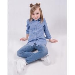 Блуза с длинным рукавом, голубая в звездочки  98-116