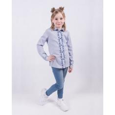 Блузка голубая с вышивкой для девочки 100% хлопок