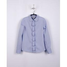 Блузка для девочки голубая, фактурная ткань веночек