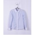 Блузка для девочки нежно-голубая в полосочку с белым воротником и планкой