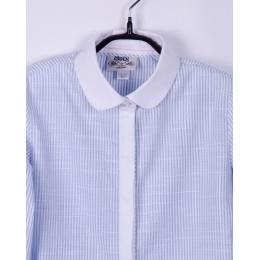 Блуза с длинным рукавом BoGi Нежно-голубая в полосочку с белым воротником и планкой