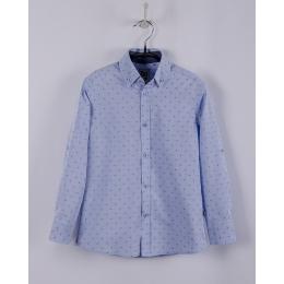 Рубашка BoGi casual Голубая в синий горошек