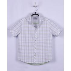 Рубашка, короткий рукав, бело-салатная клетка