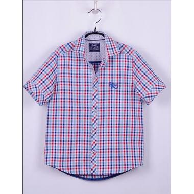 Рубашка, короткий рукав, красно-голубая клетка