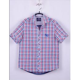 Рубашка, короткий рукав, серо-красный горох