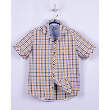 Рубашка, короткий рукав,желто-голубая клетка
