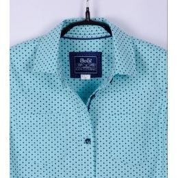 Блуза с длинным рукавом, мятная в звездочки, 97% хлопок