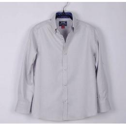 Рубашка для мальчика,светло-серый, фактурная шахматка