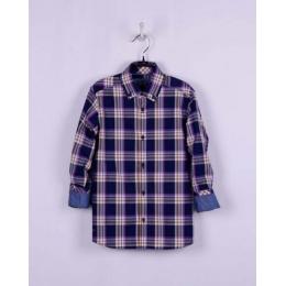 Рубашка casual,синий в фиолетово-коричневую клетку, 60% хлопок