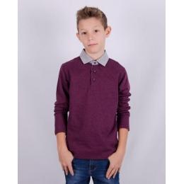 Рубашка- регби (обманка) для мальчика (152-170), сливовый меланж, 60% хлопок