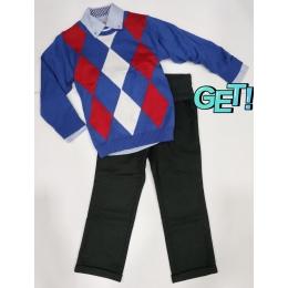 Комплект BoGi/Monkey (Рубашка+джемпер+брюки) Голубой с красным
