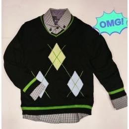Комплект BoGi (Рубашка+джемпер) Сине-зеленый