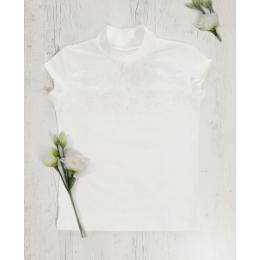 Блуза КРУЖЕВО  кор. рукав стрейч-кулир/кружево,  хлопок 95%, стрейч 5%