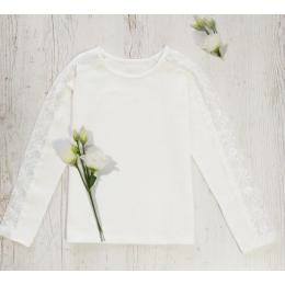 Блузка с кружевом по рукаву стрейч-кулир/кружево,  хлопок 95%, стрейч 5%