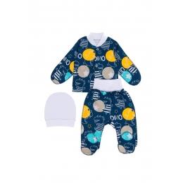 Комплект (распашонка, ползунки, шапочка) Кена 112442-07 Синий