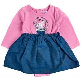 Платье-боди стрейч-кулир темно-розовый