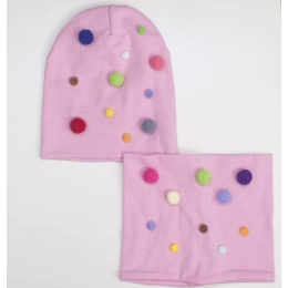 Комлект (шапка+ снуд) Кито Помпон Розовый