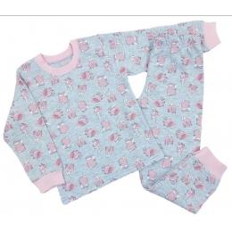 Пижама Кена Теплая Розовая с серым