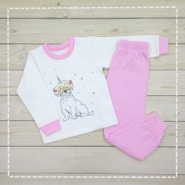 Пижама Кена Теплая Молочная с розовым
