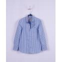 Рубашка для мальчика,  голубая клетка, 100% хлопок