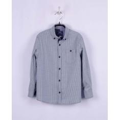 Рубашка для мальчика,  зелено-черная клетка