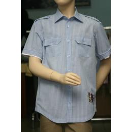 Рубашка для мальчика, короткий рукав, голубая