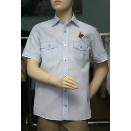 Рубашка для мальчика, короткий рукав, голубая клетка