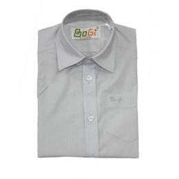 Рубашка для мальчика, короткий рукав, светло-серая