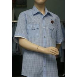 Рубашка для мальчика, короткий рукав, синяя клетка