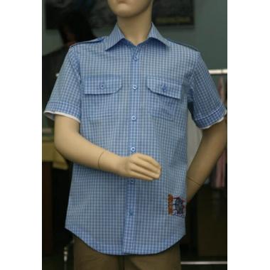 Рубашка для мальчика, короткий рукав, темно-голубая