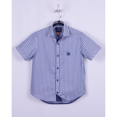 Рубашка, короткий рукав, сине-белая полоса