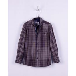 Рубашка BoGi casual Сине-горчичная клетка
