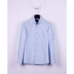 Рубашка casual, бело-голубая полоска